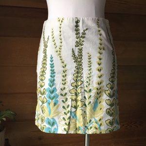 LOFT 🌱 Botanical Print Linen Skirt Natural